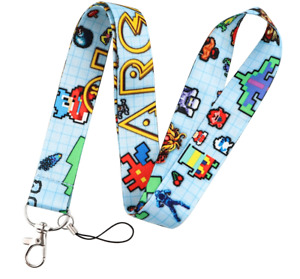 RETRO ARCADE GAMES THEMED LANYARD NECK STRAP ID HOLDER PAC MAN SPACE INVADERS