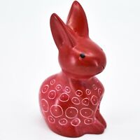 Hand Carved Kisii Soapstone Red Momma Mama Bunny Rabbit Figurine Made in Kenya