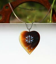 Carved heart horn with inlay silver silver tone 16.5 NECKLACE