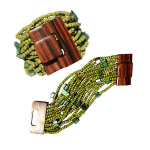 Rustic Green Bronze Beaded Bali Bracelet Hard Wood Buckle Clasp with MOP shell