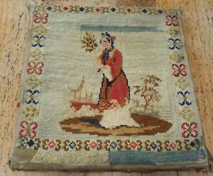 ANTIQUE VICTORIAN PETIT POINT EMBROIDERY / SAMPLER /TAPESTRY- CHINESE LADY