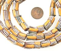 Ghana Opaque Autumn Brown Mult cylinder Recycled glass African trade beads-Ghana