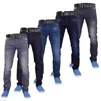 New Mens Designer Crosshatch Coated Denim Slim Fit Jeans Trousers with Free Belt