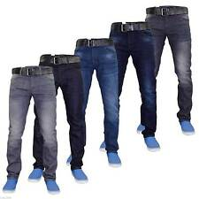 New Mens Designer Crosshatch Coated Denim Slim Fit Jeans Trousers with Free Belt