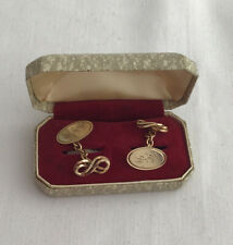 Antique 9ct Gold Cufflinks, Engraved