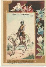 Chromo Duroyon & Ramette Armée française Dragon cheval A la ménagère soldat