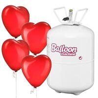 Helium Loveset 250 Love - 30 Herzballons Rot und 1 Einweg Heliumflasche Hochzeit