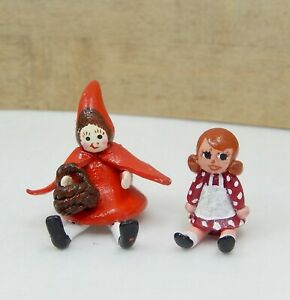 2 Vintage Sculpted Toy Dolls Little Red Riding & Friend Dollhouse Miniature 1:12