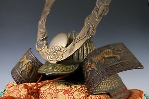 Largest Massive Old Vintage Japanese Samurai Helmet -Rising Dragon and Tiger-