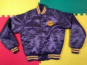 Vintage Chalk  Line Los Angeles Lakers Purple Satin Jacket Youth Size 14-16 Nice