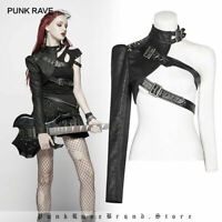 Punk Rave Gothic Women One-arm Long Sleeve Rivet Short Coat Black Soldier Jacket