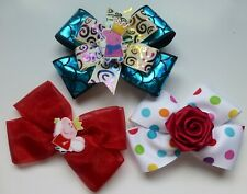 Set of 3 new Hair Bows, 2 feature Peppa Pig, All are Handmade, Clips on back