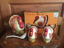 Certified International Thanksgiving Turkey 5 Piece Table Set New in Box