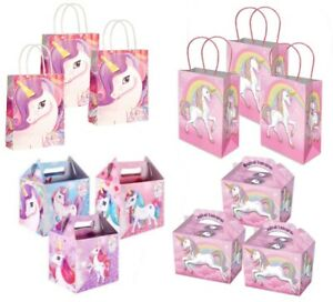 UNICORN Girls Cute Pink Birthday Picnic Food Box Boxes OR Fun Party Gift Bags