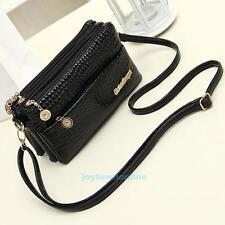 New Black Crocodile Pattern Shoulder Bag Women Lady Messenger Cross Body Handbag