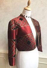 TESSARA Vintage Designer Red Gold Geometric Art Deco Bolero Jacket Medium 12 14
