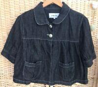 Matalan Papaya Black Denim Short Cape Jacket Coat 2 Buttons Size 14 Lightweight