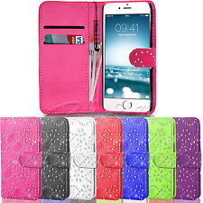 For Apple Iphone 6 6S - Card Hold Wallet Bling Leather Cover flip Case + Stylus