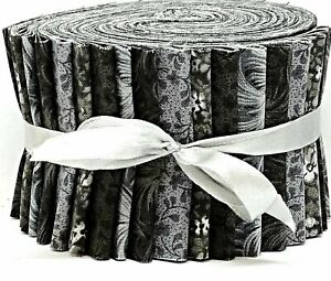 """Jelly Roll Strips Quilting Fabric 20~2.5"""" Black Gray White Mix 100% Cotton Sew"""