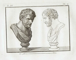 Aristippus of Cyrene, Greek Philosopher - Piroli 1805 Copper Engraving