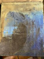 "Vintage ""An Abstract Scene"" Mixed Media On Canvas Painting"