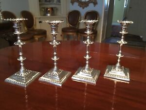 Four George III Sterling Silver Candlesticks By Ebenezer Coker, 1763