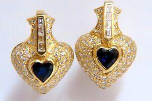 Heart Natural Sapphire Clip Earrings 7.00ct Raised Dome 18 Karat