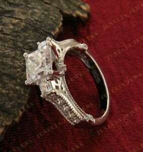 2.5Ct Solitaire Diamond Pear Cut Promise 14K White Gold FN Women Engagement Ring