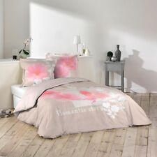 """Housse de couette + 2 taies 220x240cm """"ROMANTIC STORY ROSE"""" 100% Coton 57 Fils"""