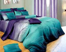 New 600TC Cotton Queen Size Bed Quilt/Doona Cover 5PC Set. Purple&Blue 212Q
