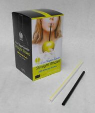 "200 piece 5.75"" Black Plastic Super Jumbo Drinking Straws Cocktail Margarita"