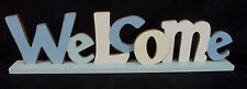 WELCOME  Block Words Wooden Timber Table Top Decoration  Beach Style 50cm New