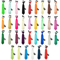 Premium Satin Solid Plain Formal Wedding Page Boy Elasticated Boy's Pre-Tied Tie