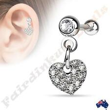 Silver Ion Plated Tragus/Cartilage Stud with Clear CZ Paved Heart Dangle