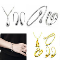 4pcs/set Fashion Women 925 Silver Wedding Necklace Bracelet Earring Ring Jewelry