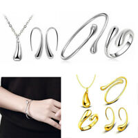 4 Pieces Jewelry Set S925 Silver Water Drop Shape Earrings Bangle Necklace Ring