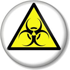 """BIOHAZARD WARNING SIGN 25mm 1"""" Pin Button Badge Zombie Symbol Geek Emo Toxic Fun"""