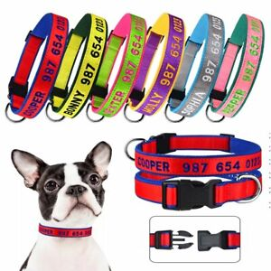 Free Embroidered Custom Pets Name Phone Personalized Small Large Cat Dog Collar