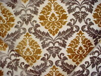 7-1/4Y STEEL TAUPE GOTHIC FRENCH DAMASK VELVET UPHOLSTERY FABRIC