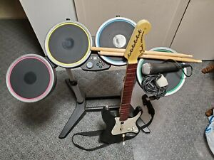 Xbox 360 Rock Band Bundle Wireless Drums & Guitar Stratocaster-TESTED- Fast Ship