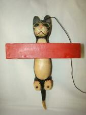 Large 1980s Hand Painted Vintage Novelty Hanging Cat Bird Seed Feeder