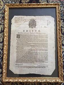 Bellissimo Editto del 1703 del comune di Milano 41 x 32