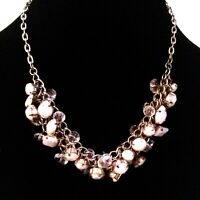 Gold Tone Faceted White Clear Beaded Cluster Necklace