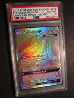PSA-8 FULL ART Pokemon CELESTEELA GX Card UNBROKEN BONDS 228/214 Hyper/Rainbow