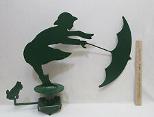 "Hand Crafted Weathervane Windy Day Girl Umbrella Green Outdoor 19"" Heavy Steel"