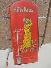 """Hills Bros Thermometer Antique WOOD 1915 By Expert Hardware Intact Lg 24""""X 9"""".3"""""""