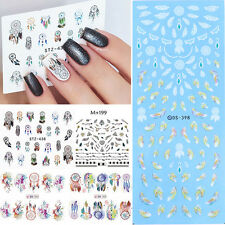5 Sheets Dream Catcher Nail Art Water Transfer Decals Stickers Feather Arrow