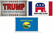 3x5 Trump White #2 & Republican & State of Montana Wholesale Set Flag 3'x5'