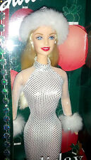 Mattel 2001 Barbie Holiday Excitement White Silver Gown Hat Bracelet Brush