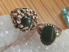 Modernist Sterling Silver Jade and stone Ring Pair Pacific Jewelers sz 6.5 7.75